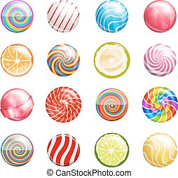 lollipops - Colorful glossy bright lollipops illustrations....