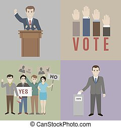 Vote - Elections. The candidate and the electorate. Flat...