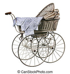 edwardian pram - isolated edwardian pram in perfect...