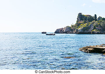 view Ionian Sea near Isola Bella beach in Sicily