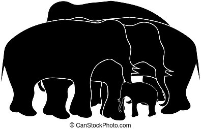 Group of elephant - silhouette image of elephants and baby