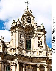 facade of Basilica della Collegiata, Catania - facade of...