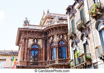 side view of Teatro Massimo Bellini, Catania, Sicily, Italy