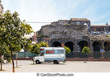 view of Roman Odeon in Catania - view of Roman Odeon from...