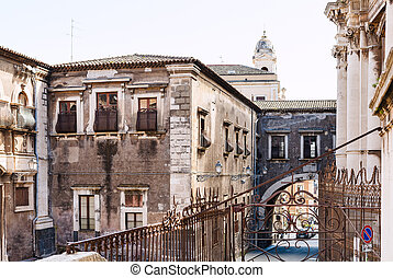 baroque style houses in Catania city, Sicily, - baroque...