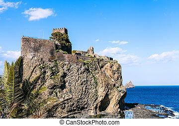 el, Castello, Normanno, en, Aci, Castello, pueblo, sicilia,