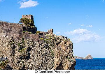 normando, castillo, en, Aci, Castello, y, Cyclopean, rocas,