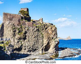 normando, castillo, y, islas, de, el, cíclope, sicilia,