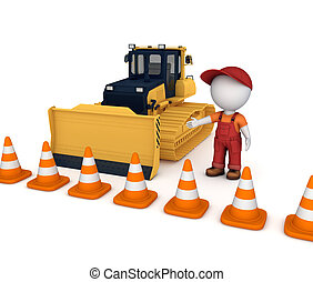 Yellow bulldozer near traffic cones - Yellow bulldozer near...
