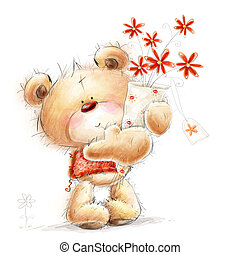Teddy bear with the red flowers - Cute Teddy bear with the...