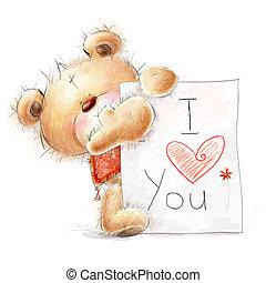 Cute Teddy bear I love you - Cute Teddy bear with the big...