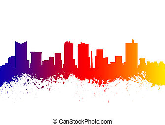 Fort Worth Texas USA - Watercolor art print of the Skyline...
