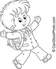 Schoolboy - Joyful schoolboy with his schoolbag running and...