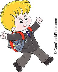 Schoolboy - Joyful schoolboy with his schoolbag running and...