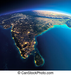 Detailed Earth. India and Sri Lanka - Highly detailed planet...