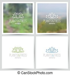 nature logo - logo set of nature and ecology theme, two...