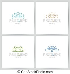 nature logo - plant and tree elements, logo set of nature...