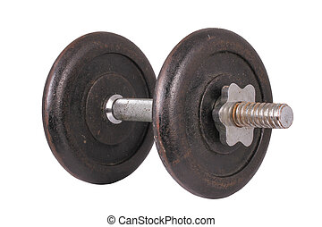 The Single Dumbbell on the White Background - This is a...
