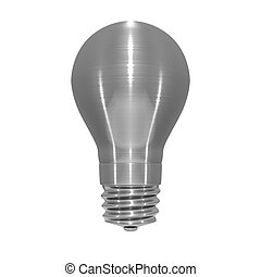 Metallic light bulb object on white background