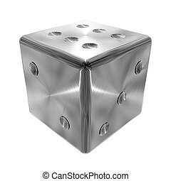 Metallic dice object on white background