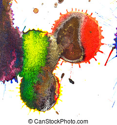 Abstract red, orange, yellow, green, blue, indigo, violet, ink s