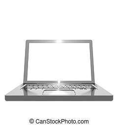 Metallic angled laptop object on white background