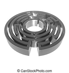 Metallic 3D maze object on white background