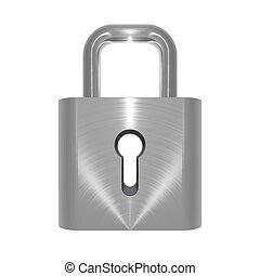 Metallic locked padlock object on white background