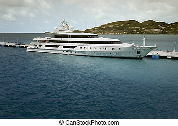 Super Yacht moored at Saint Maarten in the Caribbean sea