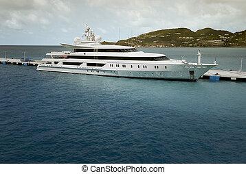 Super Yacht moored at Saint Maarten in the Caribbean sea