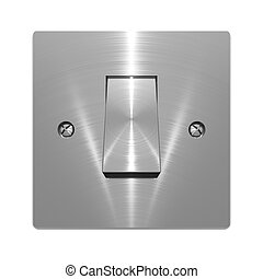 Metallic wall switch object on white background
