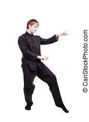 Man in a kimono practicing kung fu