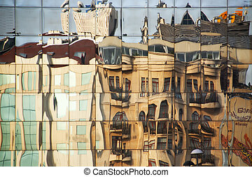 Building Reflections - Office Building reflecting a...