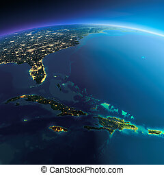 détaillé, Earth., Antilles, îles,