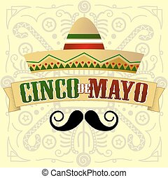 Cinco de Mayo Moustache Vector Illustration