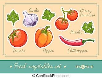 Set of fresh vegetables cherry tomato pepper garlic chili...