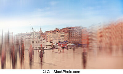 Abstrakt background Marseilles, Old port Vieux-Port with...
