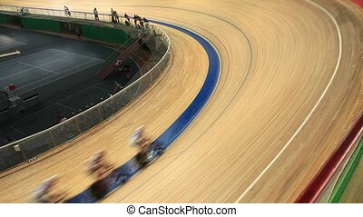 Cycling track Pursuit - bike track racing motion blur