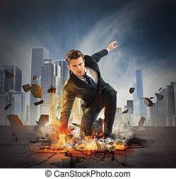 Hero determinated businessman - Businessman determined...