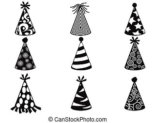 black party hat icons set - isolated black party hat icons...