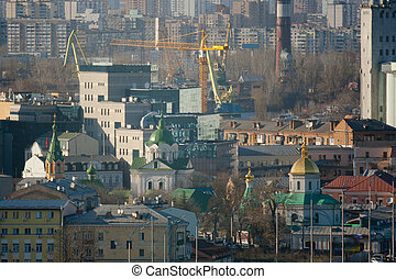 Kiev business and industry city landscape on river, bridge,...