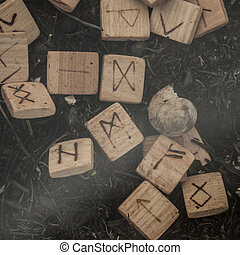 wooden runes on the ground