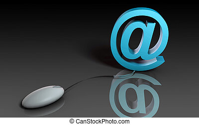 Email - Web Email Using Internet and Mouse in 3d