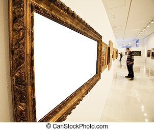 Museum interior - Museum corridor with a blank big frame