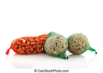 Bird winter food - Winter food peanuts and fat balls for...