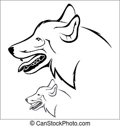 Wolf head - Vector illustration : Wolf head on a white...