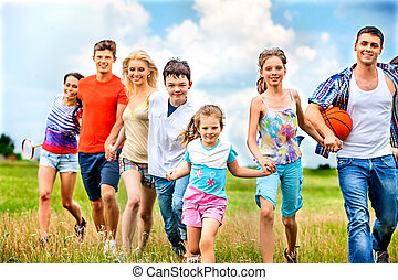 Group people summer outdoor. - Happy group people with...