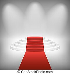 Staircase with Red Carpet, Vector