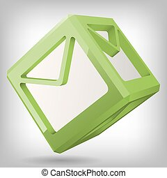 Vector 3D Cube with Mail Icon