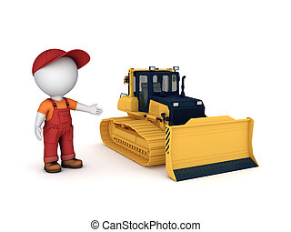 Yellow bulldozer 3d illustration isolated on white...